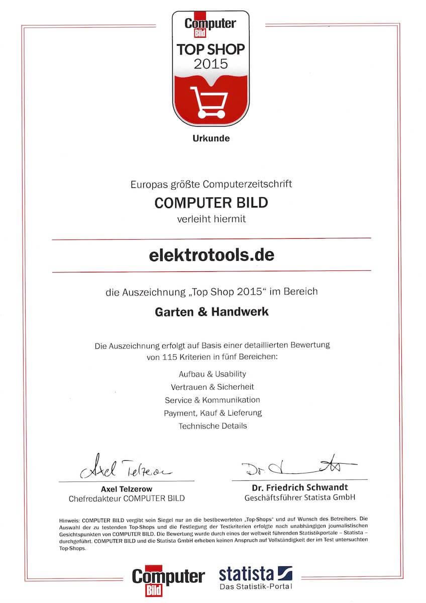 Elektrotools Auszeichnung 2015